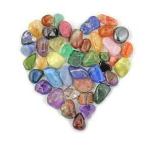 Crystal gem stones in shape of heart